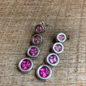 Jewelry - 925 Sterling Silver Pink Stone Earrings